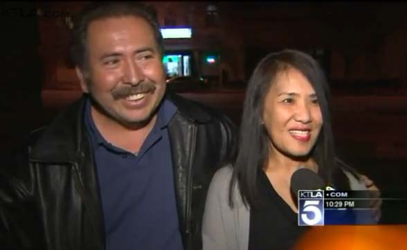 Filipina mom Lilian and Salvadoran dad Marcos Argueta. (Screengrab from KTLA 5 News report)